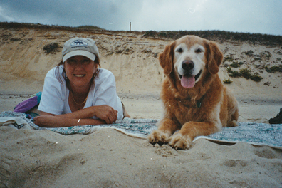 bailey and the author at the beach